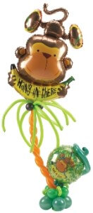"balloon bouquet - ""Hang In There"" monkey"
