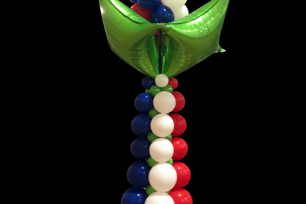 Balloon decor - balloon column - red, white, blue with green foils