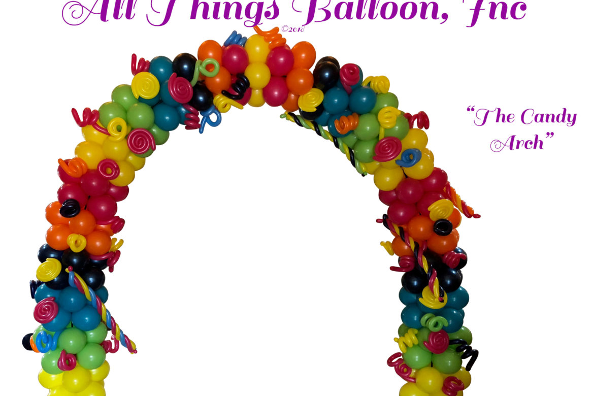 balloon decorator; balloon arch - Bat Mitzvah ; candy arch