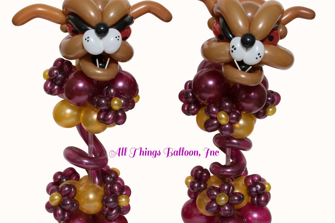 balloon decor - balloon centerpieces; balloon bulldog centerpieces