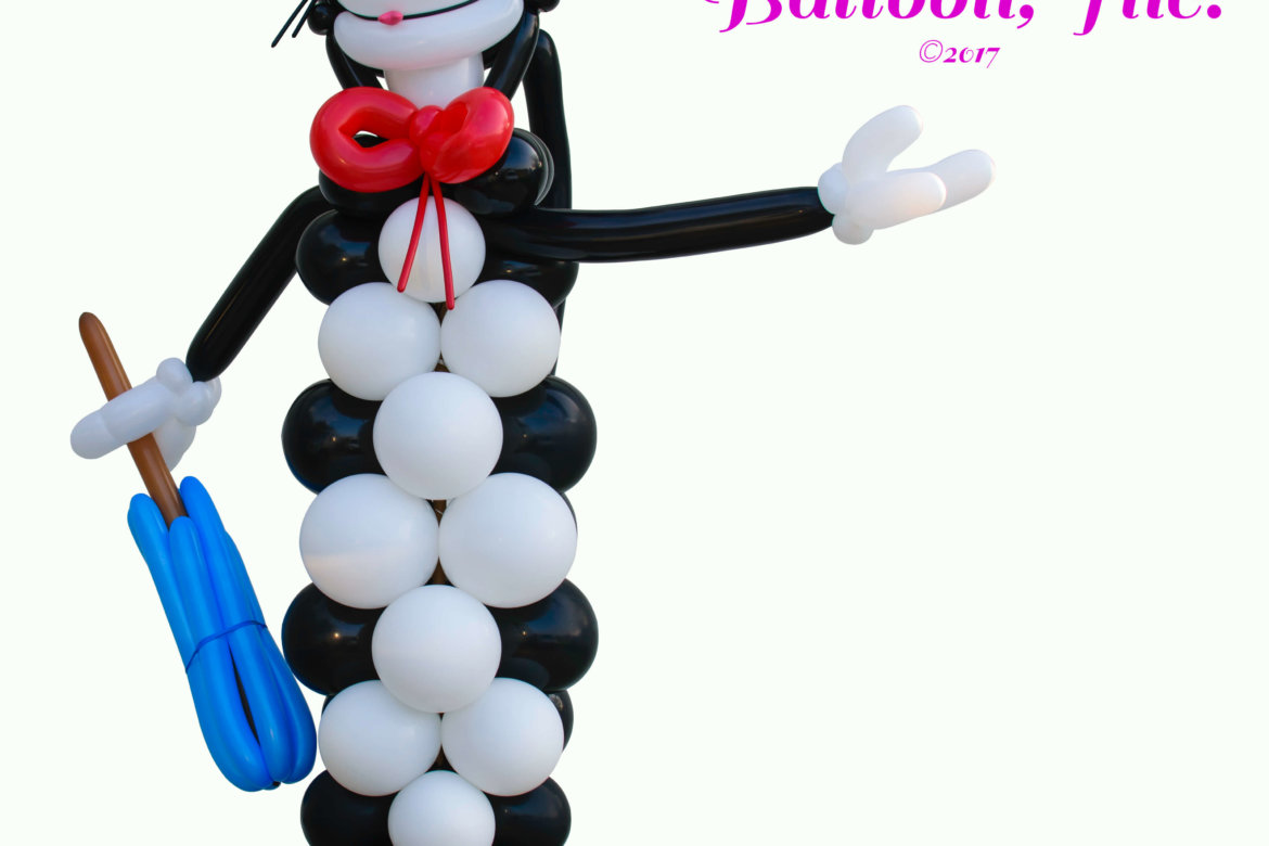 "birthday party - balloon decoration - balloon column - Dr Suess ""Cat in the Hat"" character"