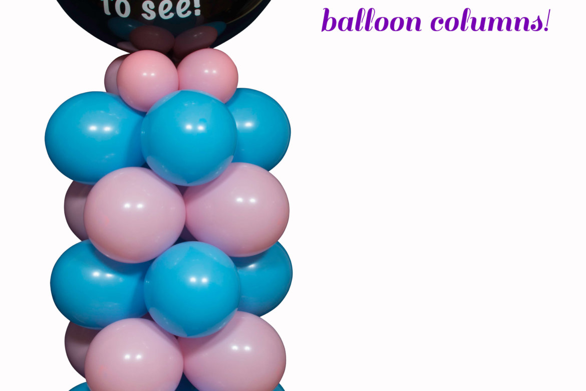 "Balloon decorator - balloon ""Baby Reveal"" column"