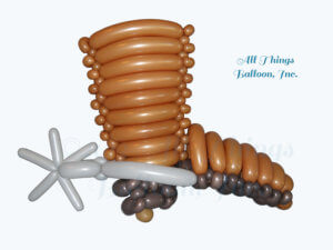 balloon decor: balloon centerpiece; balloon cowboy boot