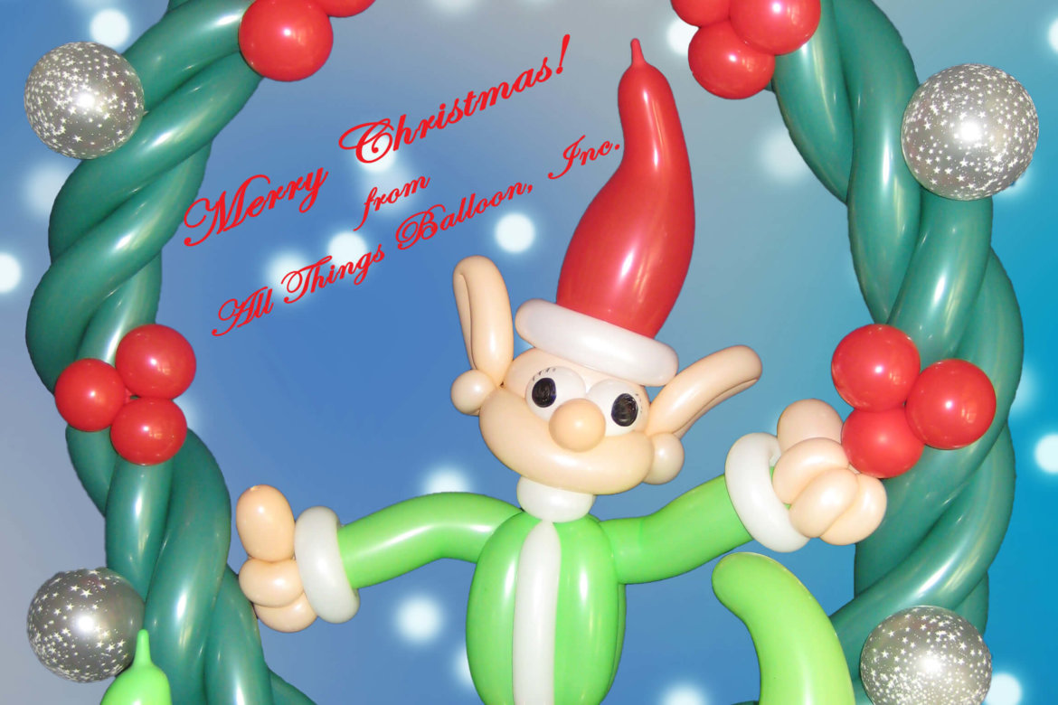 Christmas - balloon Christmas wreath with cute balloon elf