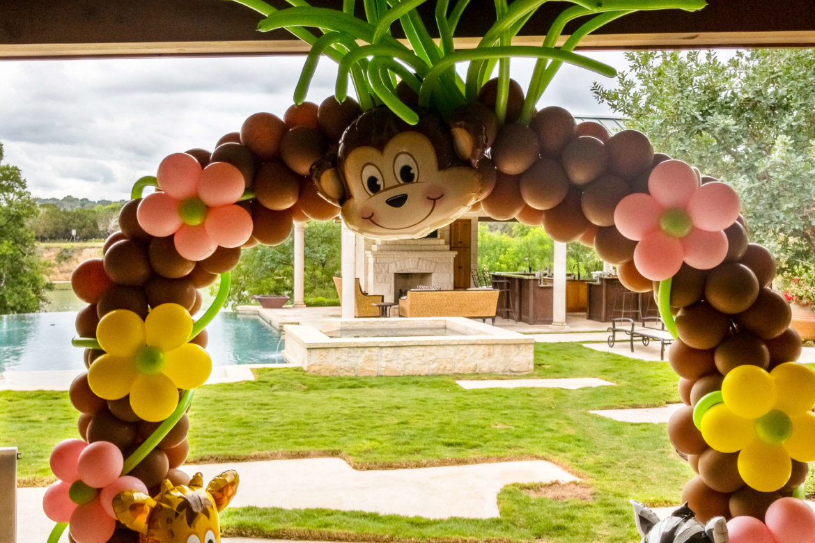 Balloon decorations - balloon arch with large foil balloon Monkey