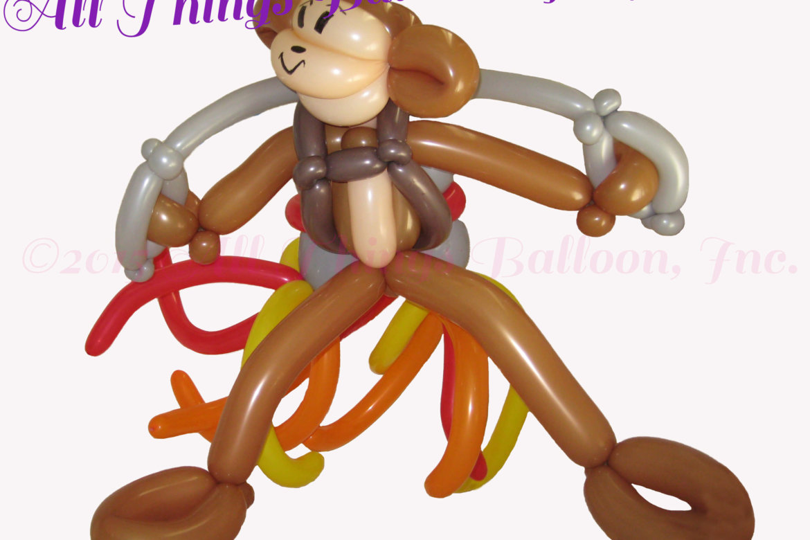 balloon artist - balloon monkey with jet pack built for kid's birthday event