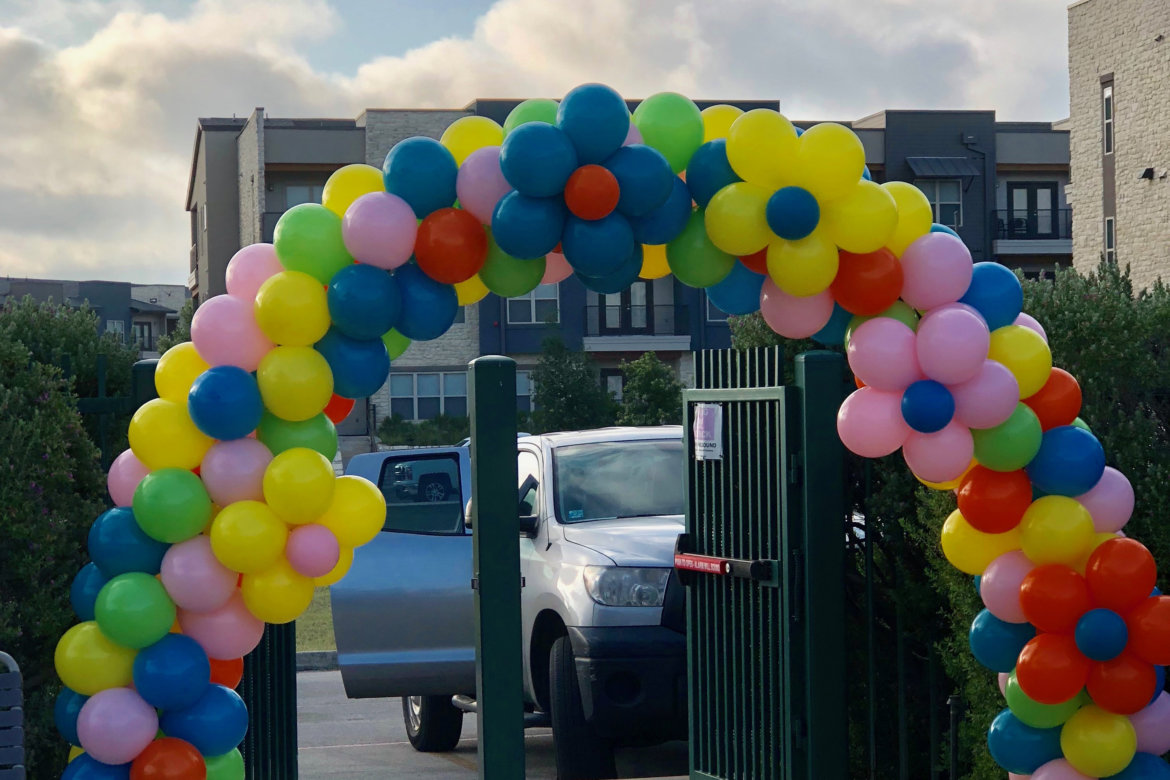 balloon decor - Multi colored Arch with flowers