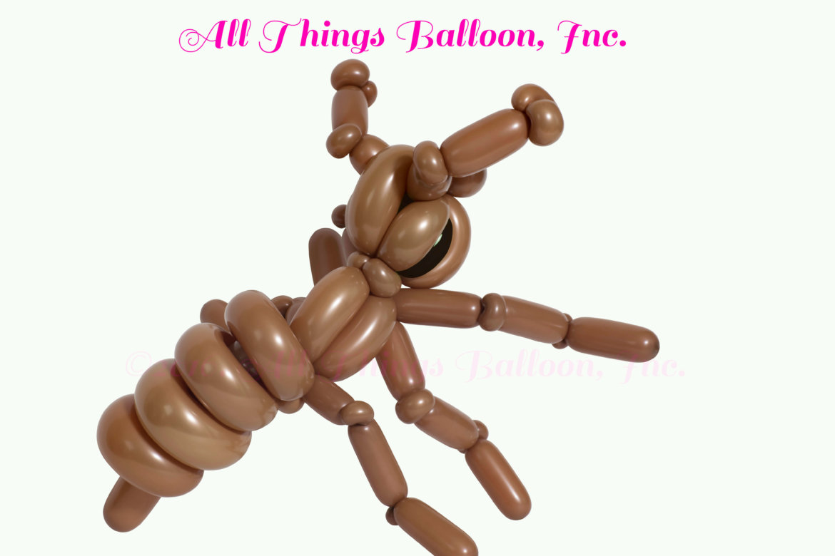 Kid's party - balloon artist: balloon brown ant