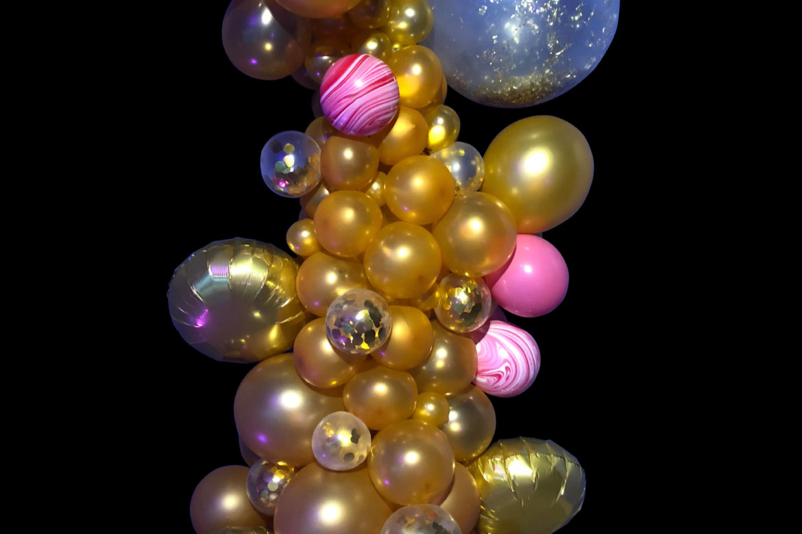 balloon decor - balloon column - gold/pink organic