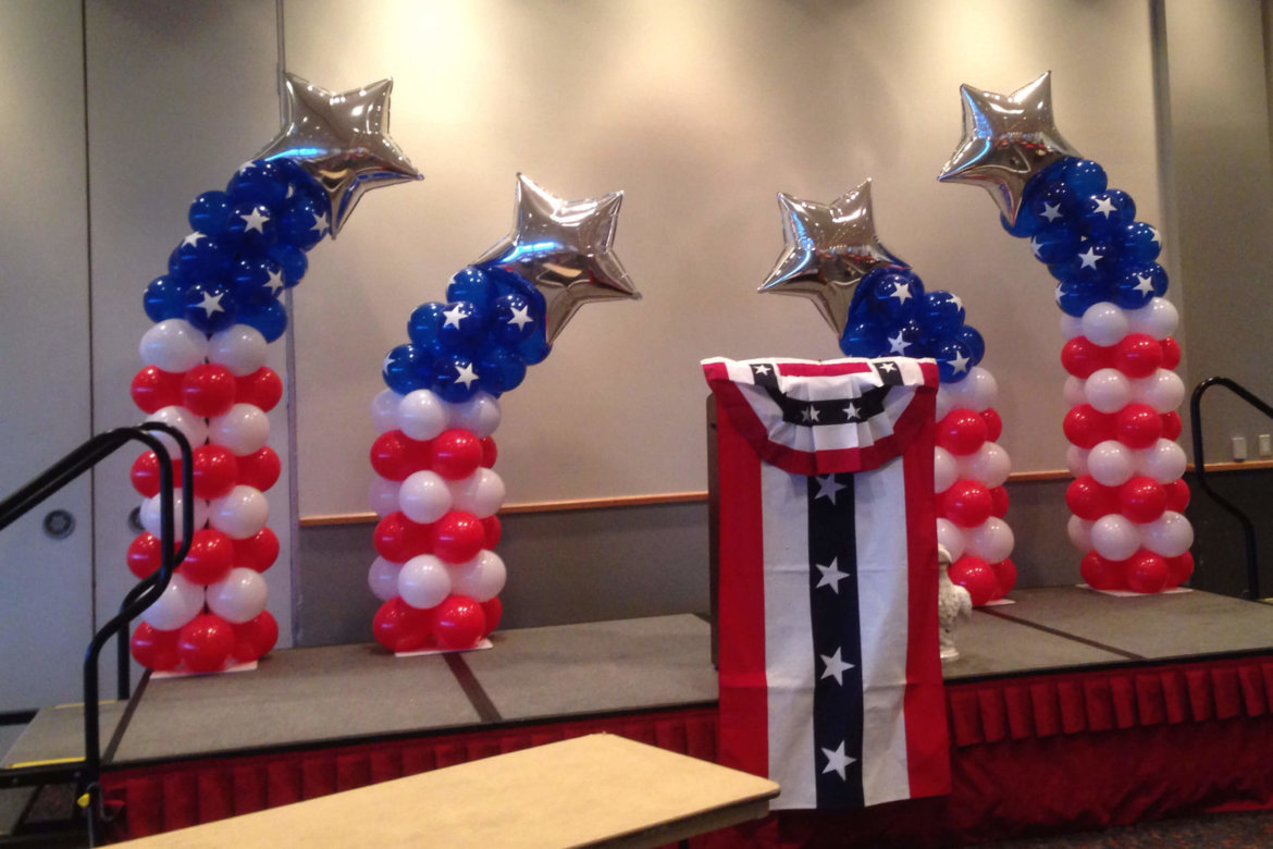 balloon decor - balloon Patriotic Star Columns created for Sports award event