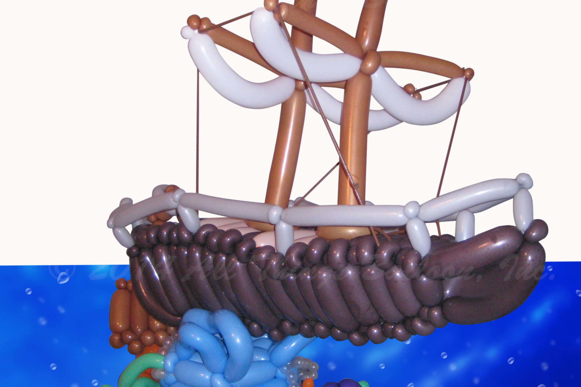 balloon artist- balloon Pirate ship and undersea scene created for kid's birthday party