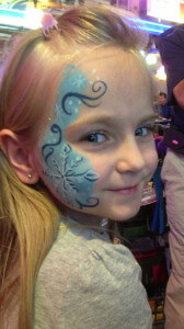 face painter - intricate snow flake design; kid's party