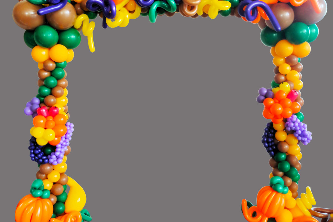 balloon decor - Square arch photo frame - fall colors