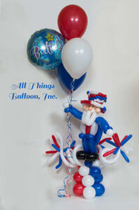 balloon decor- balloon Uncle Sam and Fireworks display created for kid's birthday party