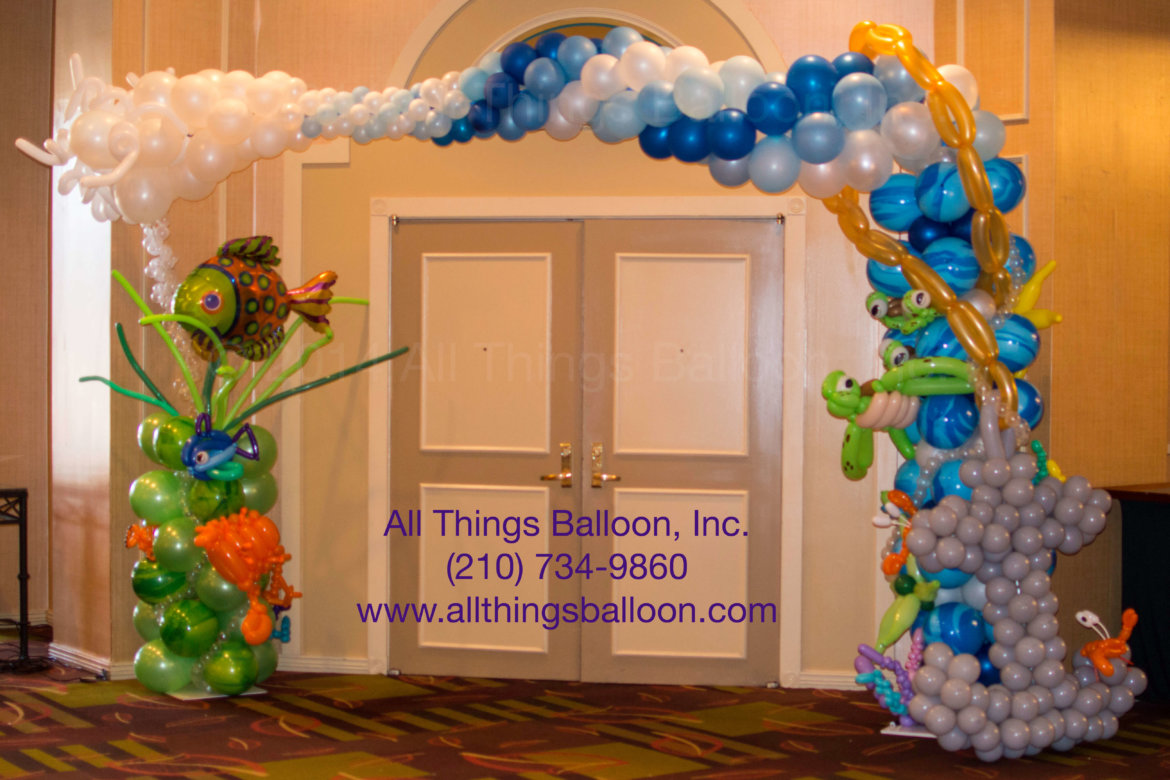 Balloon decor - balloon arch with balloon undersea creatures