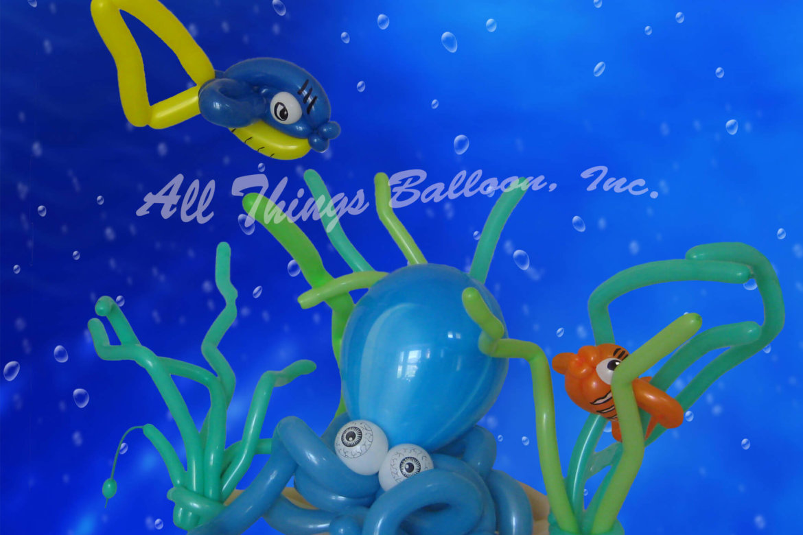 balloon artist- balloon Undersea scene created for kid's birthday party