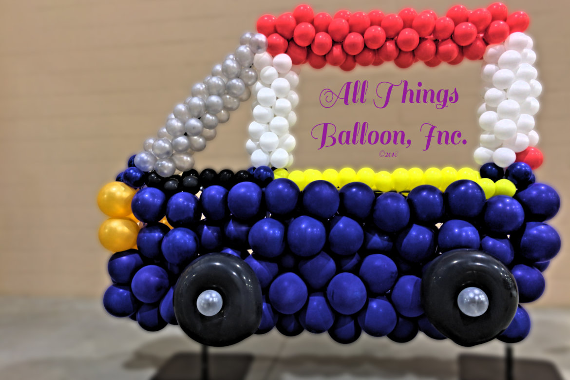 balloon decorator - balloon photo frame - balloon minivan