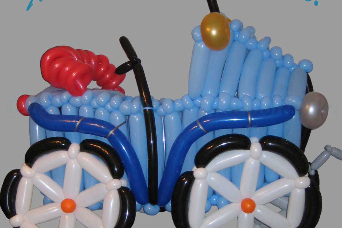 balloon artist - nearly life-sized vintage car made of balloons