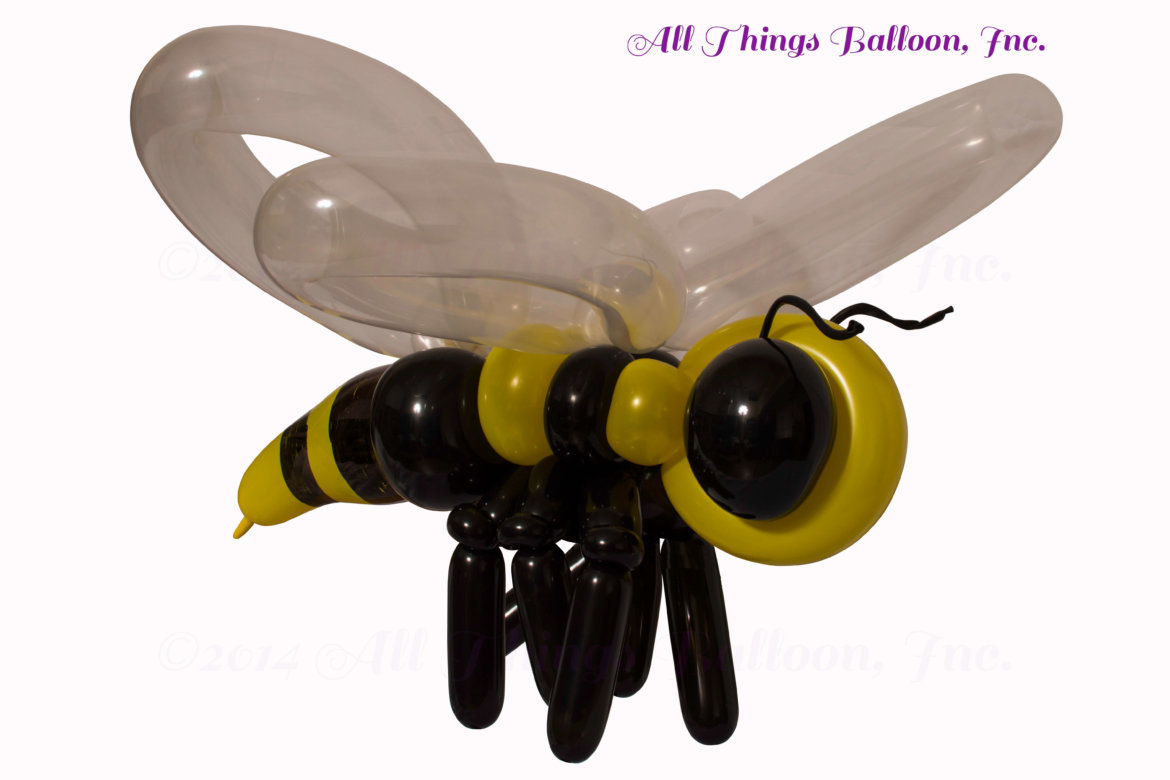 balloon artist- balloon Yellow Jacket created for kid's birthday party